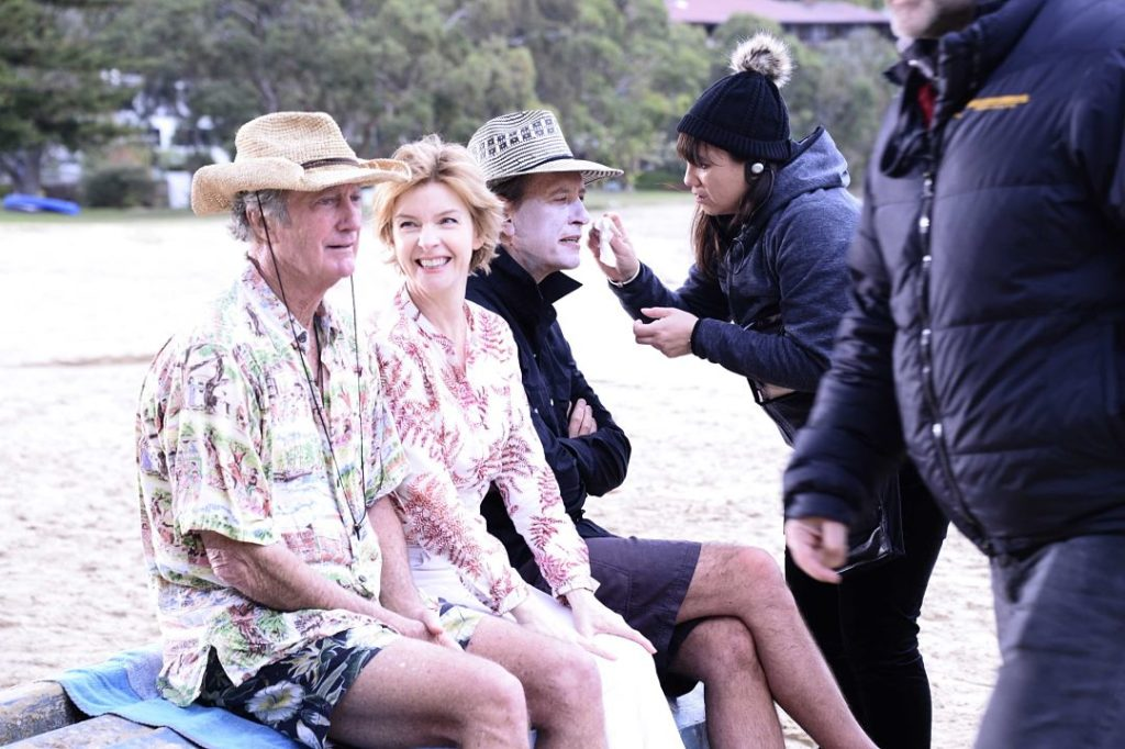 Bryan Brown, Jacqueline McKenzie, Richard E. Grant and Linda Anson-Luttrell on the set of 'Palm Beach' Photo by Elise Lockwood.