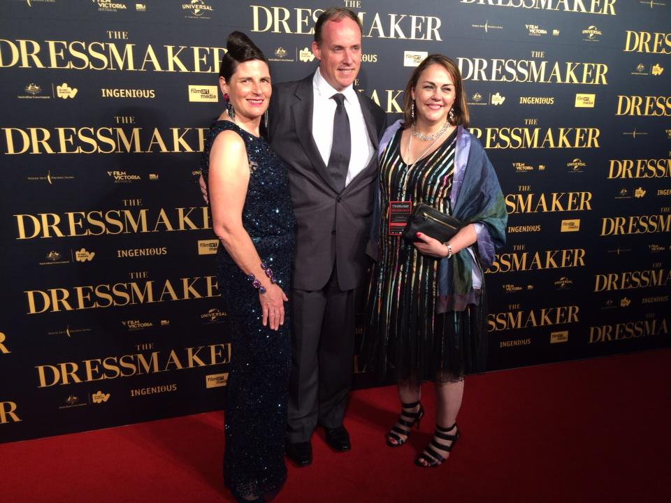 Producer Sue Maslin, Managing Director of Universal Pictures Australasia Mike Baard and Director Jocelyn Moorhouse at The Dressmaker premiere